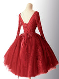 2018 Chic A-line Red Homecoming Dresses Lace Short Prom Dress Long Sleeve Homecoming Dress AMY2164