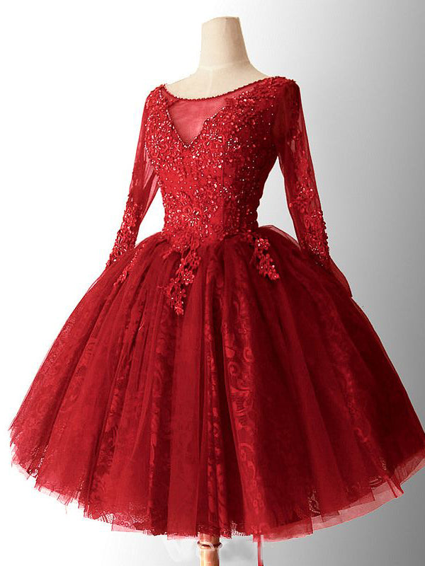 2018 Chic A Line Red Homecoming Dresses Lace Short Prom Dress Long Sleeve Homecoming Dress Amy2164