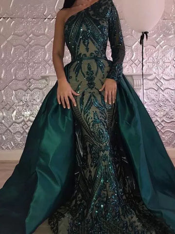 2018 Chic Mermaid One Shoulder Lace Prom Dresses Unique Dark Green Long Prom Dress Evening Dresses AMY2169