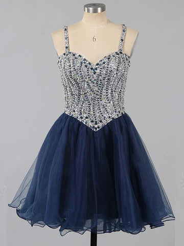 2018 Chic A-line Straps Sparkly Homecoming Dresses Unique Short Prom Dress Dark Navy Homecoming Dresses AMY2174