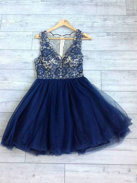 2018 Chic A-line V neck Royal Blue Homecoming Dresses Lace Short Prom Dress Homecoming Dress AMY2175