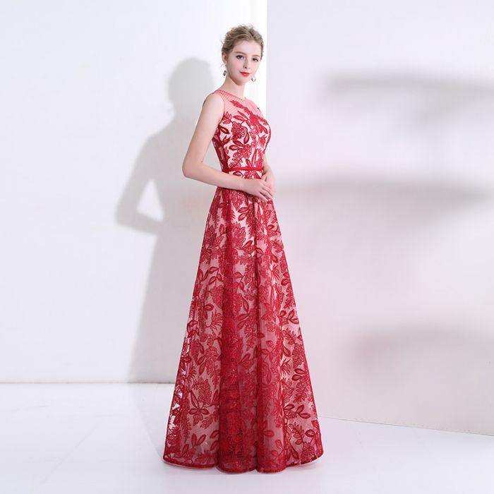 2018 Red Long Prom Dresses Scoop A-line Lace Cheap Prom Dress ...