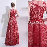 2018 Red Long Prom Dresses Scoop A-line Lace Cheap Prom Dress Evening Dresses AMY218