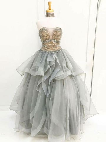 A-line Strapless Silver Beading Prom Dresses Tulle Long Prom Dress Evening Dress AMY2186