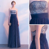 2018 Royal Blue Long Prom Dresses Strapless A-line Cheap Prom Dress Evening Dresses AMY219