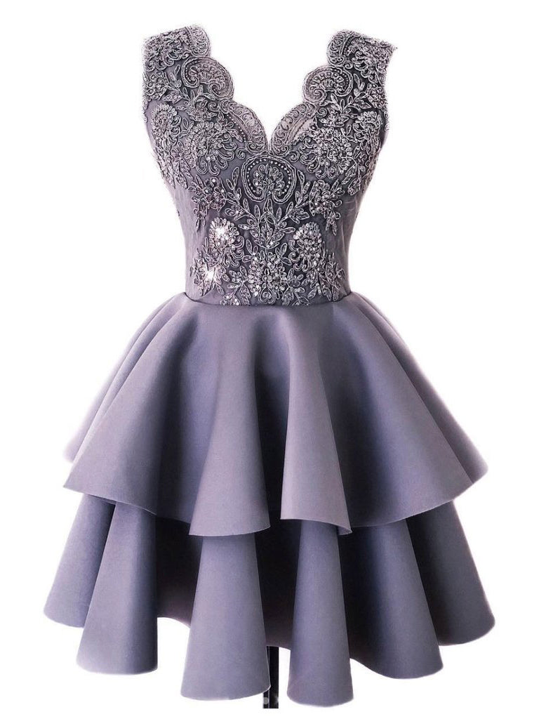 2018 Chic A-line V neck Lace Homecoming Dresses Unique Short Prom Dress Homecoming Dresses AMY2190