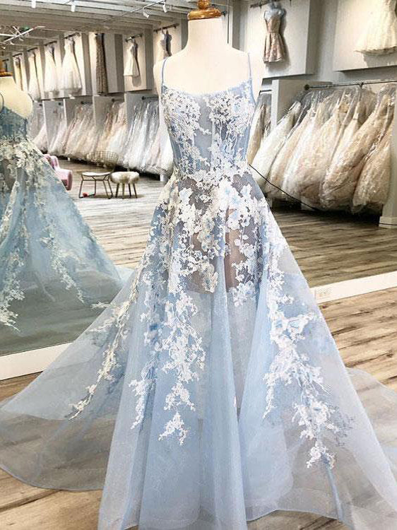 2018 Chic A-line Spaghetti Straps Lace Prom Dresses Unique Blue Long Prom Dress Evening Dresses AMY2194