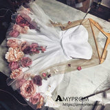 2018 Chic A-line V neck Hand-Made Flower Homecoming Dresses Unique Short Prom Dress Long Sleeve Homecoming Dresses AMY2195