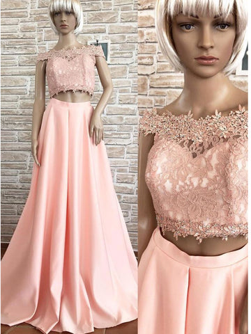 2018 Chic Two Pieces A-line Off-the-Shoulder Applique Prom Dresses Unique Long Prom Dress Evening Dresses AMY2196