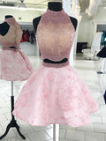 2018 Chic Two Pieces A-line High Neck Homecoming Dresses Ombre Short Prom Dress Beaded Homecoming Dresses AMY2197