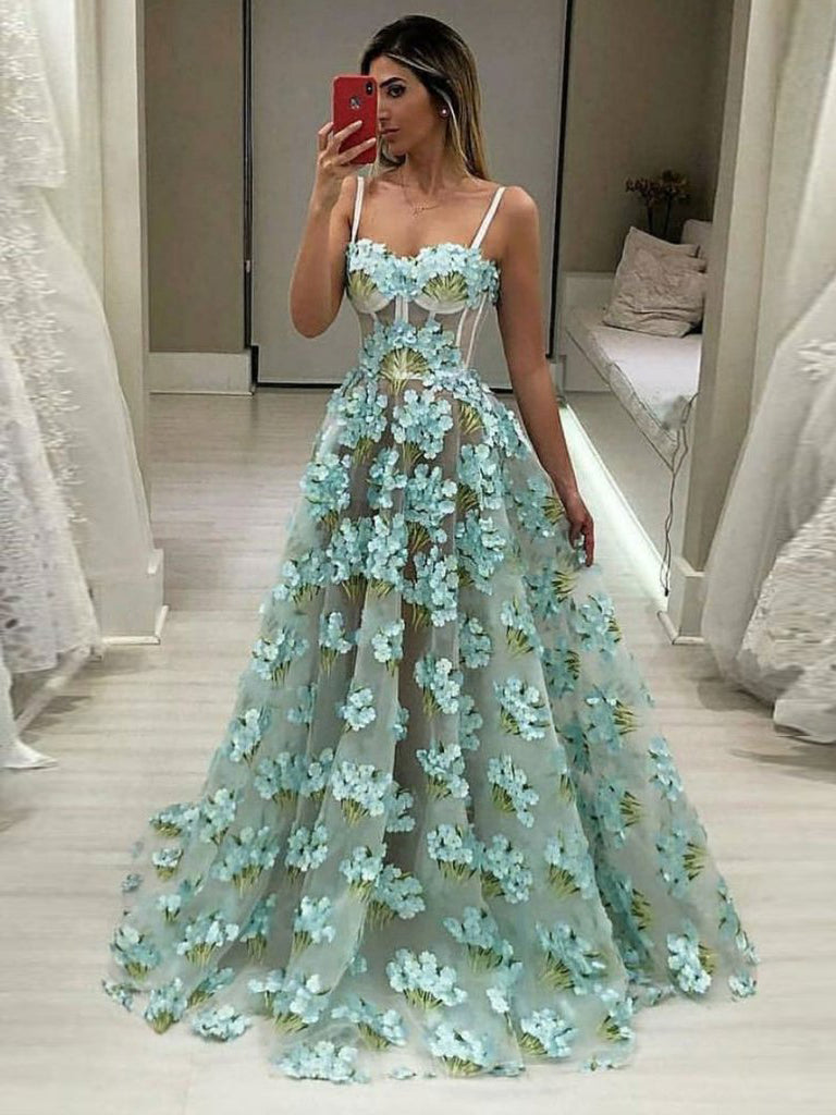 2018 Chic A-line Spaghetti Straps Lace Prom Dresses Unique Long Prom Dress Evening Dresses AMY2199