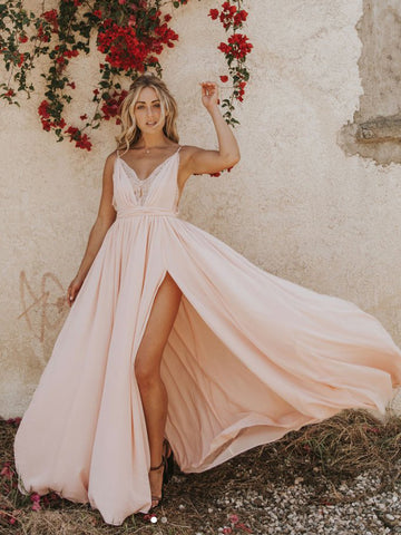 2018 Chic A-line Spaghetti Straps Lace Prom Dresses Pink Long Prom Dress Evening Dresses AMY2203