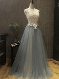 2018 Chic A-line Straps Lace Prom Dress Beading Prom Dresses Evening Dresses AMY2206