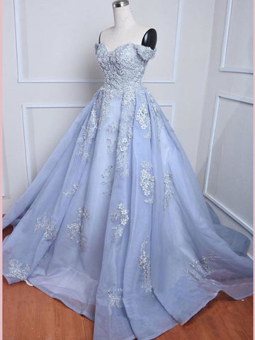 2018 Chic A-line Off-the-Shoulder Organza Lace Prom Dress Beading Evening Dresses AMY2208