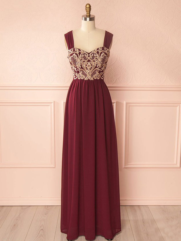 2018 Chic A-line Straps Long Prom Dresses Modest Burgundy Prom Dress Evening Dresses AMY2209