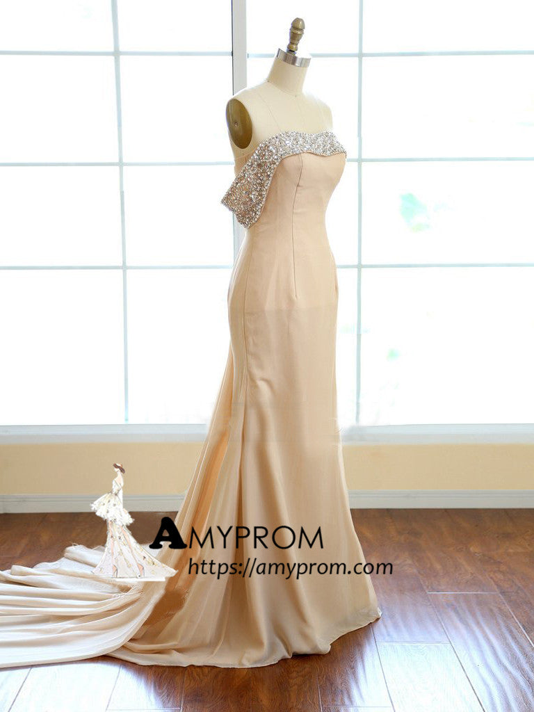 2018 Chic Trumpet/Mermaid Strapless Long Prom Dresses Unique Chiffon Prom Dress Evening Dresses AMY2215