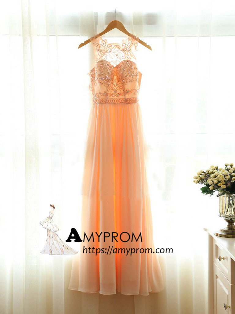 2018 Chic A-line Scoop Long Prom Dresses Unique Chiffon Prom Dress Evening Dresses AMY2216