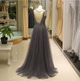 2018 Chic A-line V neck Silver Prom Dresses Unique Beading Long Prom Dress Evening Dresses AMY2220
