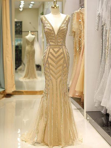 2018 Chic Trumpet/Mermaid Spaghetti Straps Gold Prom Dresses Unique Beading Long Prom Dress Evening Dresses AMY2222