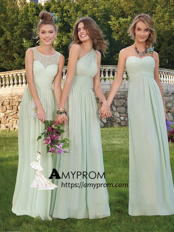 2018 Chic A-line Scoop Long Bridesmaid Dress Lace Bridesmaid Dresses Evening Dresses AMY2228