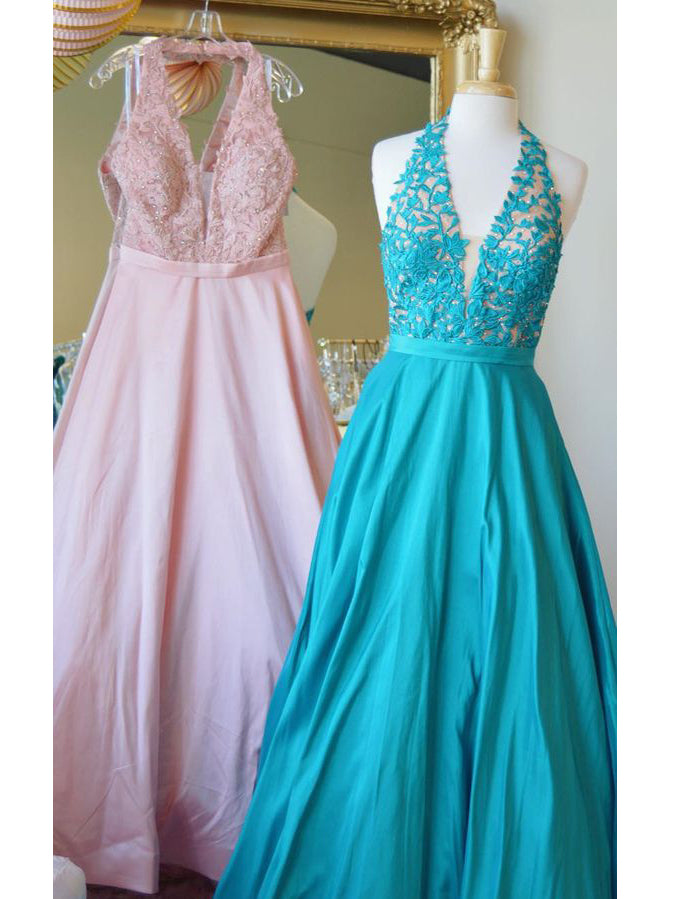 A-line V neck Long Prom Dress With Applique Long Formal Gowns Elegant Evening Dress AMY2231