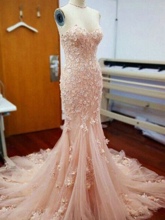 2018 Chic Trumpet/Mermaid Sweetheart Long Prom Dresses Lace Pink Prom Dress Evening Dresses AMY2233