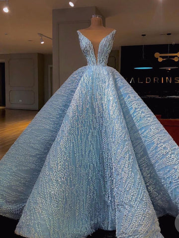 2018 Chic A-line Straps Long Prom Dresses Modest Blue Prom Dress Ball Gowns Evening Dresses AMY2236