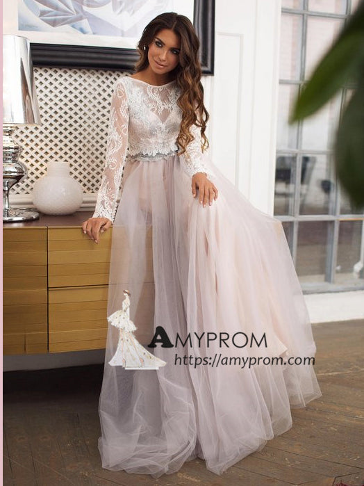 Vintage Two Pieces Wedding Dress Long Sleeve Lace Wedding Gowns Elegant Bridal Gowns Amy2241