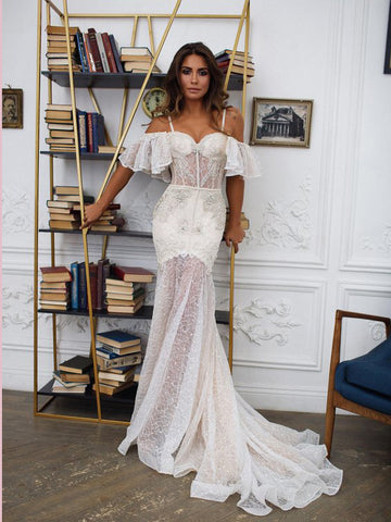2018 Chic Trumpet/Mermaid Spaghetti Straps Long Prom Dresses Modest Lace Wedding Dresses AMY2243