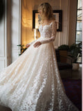 2018 Chic A-line Scoop Long Sleeve Wedding Dress Modest Lace Wedding Dresses AMY2244