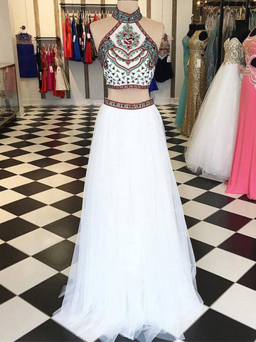 2018 Chic Two Pieces A-line High Neck Long Prom Dresses White Prom Dress Beaded Evening Dresses AMY2244