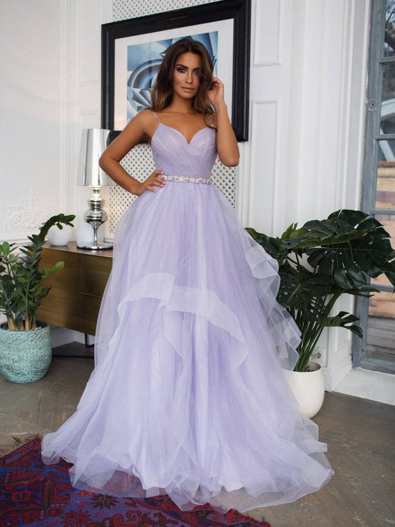 2018 Chic A-line Spaghetti Straps Lilac Prom Dress Floor Length Modest Evening Dresses AMY2246