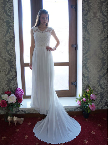 2018 Chic A-line V neck White Wedding Dress Modest Lace Wedding Dresses AMY2251