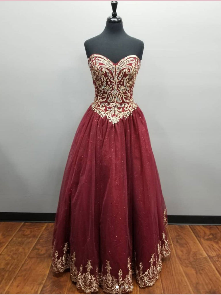2018 Chic A-line Sweetheart Prom Dress Floor Length Sparkly Burgundy Prom Dress Evening Dresses AMY2255