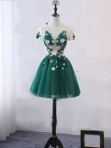 2018 Chic A-line Scoop Lace Homecoming Dresses Green Short Prom Dress Homecoming Dresses AMY2261