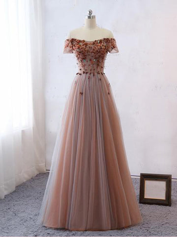 2018 Chic A-line Off-the-Shoulder Tulle Applique Lace Prom Dress Evening Dresses AMY2263