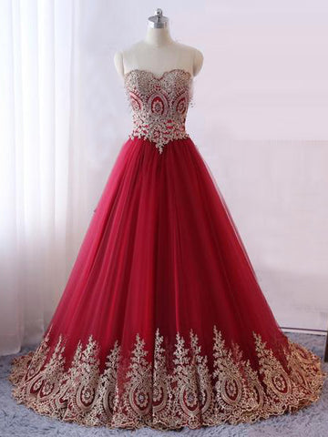 2018 Chic A-line Sweetheart Long Prom Dresses Applique Prom Dress Red Evening Dresses AMY2266