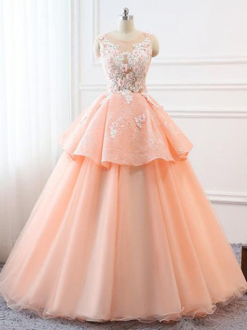2018 Chic A-line Scoop Long Prom Dresses Lace Prom Dress Ball Gowns Evening Dresses AMY2267