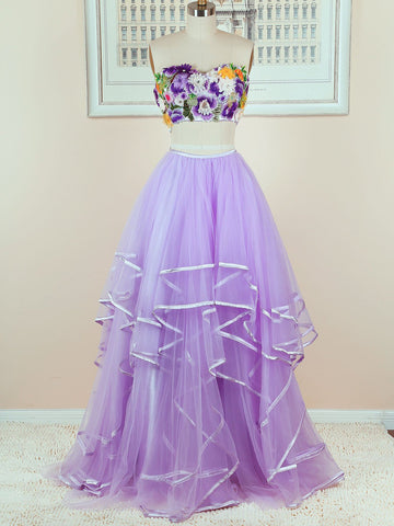 2018 Chic A-line Two Pieces Sweetheart Prom Dress Floor Length Floral Lilac Prom Dress Evening Dresses AMY2273