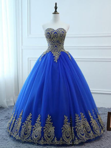 2018 Chic A-line Sweetheart Long Prom Dresses Applique Prom Dress Blue Evening Dresses AMY2279