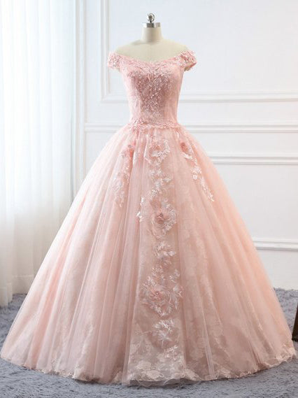 2018 Chic A-line Off the Shoulder Lace Pink Prom Dresses Backless Evening Dress AMY2284
