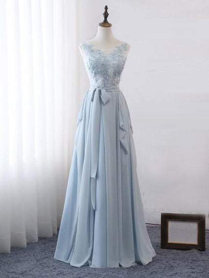 2018 Chic A-line Scoop Lace Prom Dress Floor Length Beading Prom Dress Modest Evening Dresses AMY2288