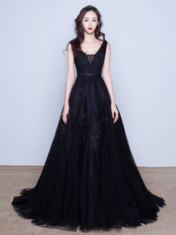2018 A-line Prom Dresses Dark Navy V neck Applique Long Prom Dress Evening Dress AMY228
