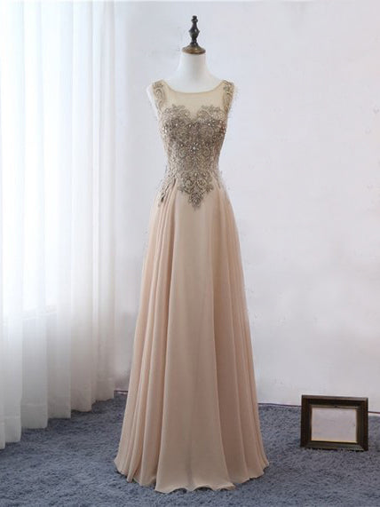 2018 Chic A-line Scoop Long Prom Dresses Beading Prom Dress Long Evening Dresses AMY2290