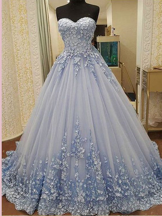 2018 Chic A-line Sweetheart Long Prom Dresses Lace Prom Dress Long Evening Dresses AMY2294