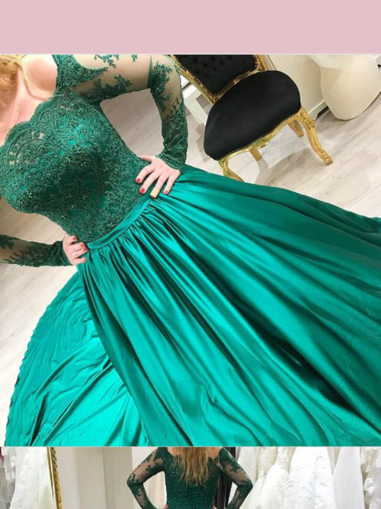 2018 Chic A-line Off-the-shoulder Long Prom Dresses Lace Green Prom Dress Long Evening Dresses AMY2297