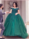 2018 Chic A-line Off-the-shoulder Long Prom Dresses Lace Green Prom Dress Long Evening Dresses AMY2298