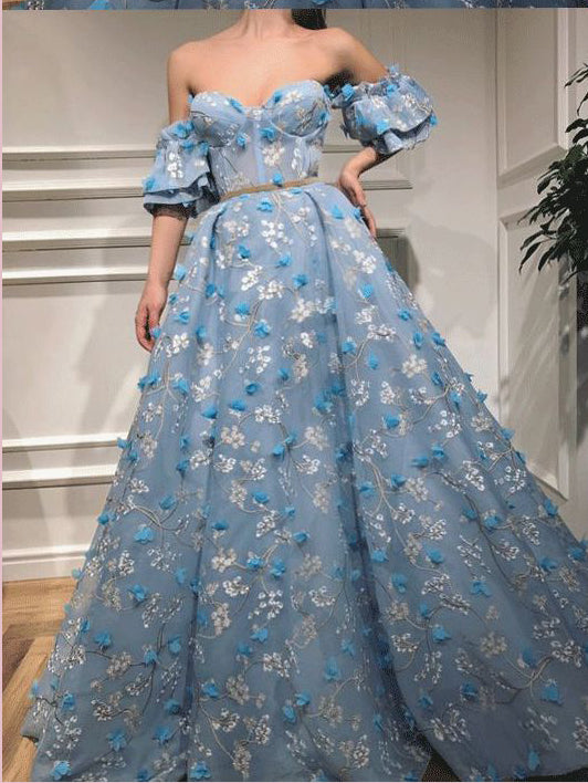 2018 Chic A-line Off-the-shoulder Long Prom Dresses Lace Blue Prom Dress Long Evening Dresses AMY2302