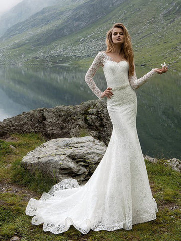 2018 Chic Trumpet/Mermaid Scoop Ivory Wedding Dress Modest Lace Wedding Dresses AMY2305