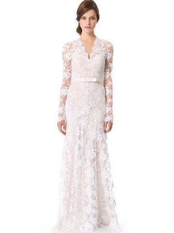 2018 Chic Sheath/Column Long Sleeve Lace Wedding Dresses Zipper Country Wedding Dress AMY2306